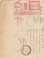 Napoli. 1939. Affrancatura Meccanica Rossa MUNICIPIO I NAPOLI 0,25 Su Documento - Affrancature Meccaniche Rosse (EMA)