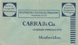 1940'S COMMERCIAL COVER- CARRAU & CIA, RESPUESTAS POSTALES PAGADAS, CIRCULA SIN PREVIO FRANQUEO. URUGUAY. ADVERT - BLEUP - Uruguay