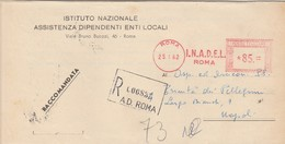 Napoli. 1962. Affrancatura Meccanica Rossa I.N.A.D.E.L.  ROMA,  Su Franchigia Raccomandata - Affrancature Meccaniche Rosse (EMA)
