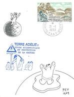 TAAF-Dumont D'Urville-T.Adélie: Carte Illustrée PEV Avec Timbre PA N°126 Laboratoire De Biologie Animale - 21/01/1993 - Lettres & Documents
