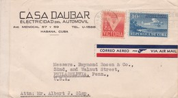 1943 COMMERCIAL COVER- CASA DAUBAR, ELECTRICIDAD AUTOMOVIL. CIRCULEE CUBA TO USA PAR AVION, BANDELETA PARLANTE- BLEUP - Luchtpost