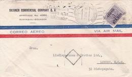 1954 COMMERCIAL COVER- SKINNER COMMERCIAL COMPANY CA. CIRCULEE ECUADOR TO LONDON. STAMP SURCH, BANDELETA PARLANTE- BLEUP - Ecuador