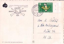 Carte Postale Suisse, Cachet Zürcher-Knaben Schiessen 1959, Automobil-Postbureau (12.9.59) - Marcophilie