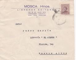 1948 COMMERCIAL COVER- MOSCA HNOS LIBREROS EDITORES. CIRCULEE URUGUAY TO ARGENTINE. BANDELETA PARLANTE- BLEUP - Uruguay
