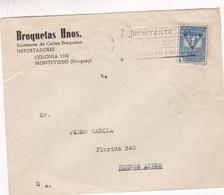 1950'S COMMERCIAL COVER- BROQUETAS HNOS. CIRCULEE URUGUAY TO BUENOS AIRES, BANDELETA PARLANTE- BLEUP - Uruguay