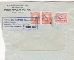 1944 COMMERCIAL COVER-BANCO POPULAR DEL PERU. CIRCULEE BOLIVIA. TIMBRE A PAIR- BLEUP - Bolivie