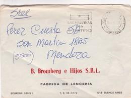 1982 COMERCIAL COVER- B.BROMBERG E HIJOS SRL, FABRICVA DE LENCERIA. CIRCULEE BUENOS AIRES TO MENDOZA. BANDELETA P- BLEUP - Lettres & Documents