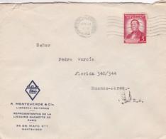 1942 COMMERCIAL COVER-A.MONTEVERDE & CIA. CIRCULEE URUGUAY TO ARGENTINE- BLEUP - Uruguay