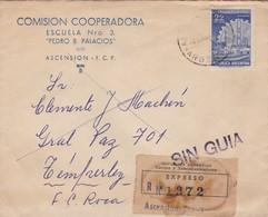 1960'S COMERCIAL COVER- COMISION COOPERADORA. CIRCULEE ASCENCION TO TEMPERLEY, RECOMMANDE SIN GUIA- BLEUP - Lettres & Documents