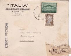 1954 COMMERCIAL COVER- ITALIA, AGENCIA DE TRAMITES INTERN. CIRCULEE BAHIA BLANCA TO BUENOS AIRES REGISTERED- BLEUP - Argentine