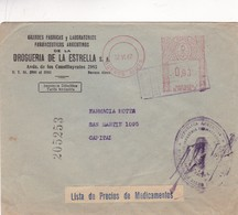 1947 COMMERCIAL COVER- DROGUERIA DE LA ESTRELLA SA. CIRCULEE BUENOS AIRES ARGENTINE. FRANKING MACHINE- BLEUP - Argentine