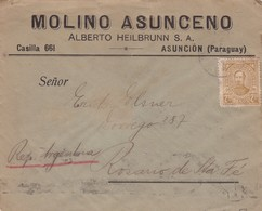 1939 COMMERCIAL COVER- MOLINO ASUCENO. CIRCULEE PARAGUAY TO ARGENTINE- BLEUP - Paraguay