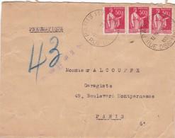 PNEUMATIQUE  :  283  ( X 3 )  -  PARIS  117  -  1936  - - Marcofilia (sobres)