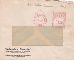 1960 COMMERCIAL COVER- INDUSTRIA Y COMERCIO SA. CIRCULEE ROSARIO ARGENTINE, BANDELETA PARLANTE. FRANKING MACHINE- BLEUP - Lettres & Documents