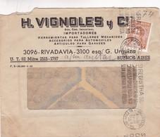 1944 COMMERCIAL COVER- H.VIGNOLES Y CIA IMPORTADORES. CIRCULEE BUENOS AIRES ARGENTINE. BANDELETA PARLANTE - BLEUP - Argentine