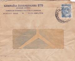 1952 COMMERCIAL COVER- COMPAÑIA SUDAMERICANA BTB SA. CIRCULEE BUENOS AIRES, ARGENTINE, BANDELETA PARLANTE- BLEUP - Argentine