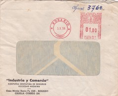 1959 COMMERCIAL COVER- INDUSTRIA Y COMERCIO SA. CIRCULEE ROSARIO ARGENTINE- BLEUP - Argentine