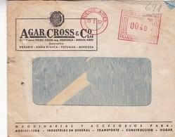 1957 COMMERCIAL COVER- AGAR CROSS & CO LTD. CIRCULEE ARGENTINE, FRANKING MACHINE- BLEUP - Argentine