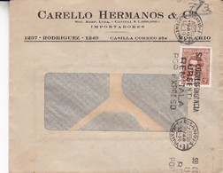1944 COMMERCIAL COVER- CARELLO HERMANOS & CIA. CIRCULEE ROSARIO ARGENTINE. BANDELETA PARLANTE- BLEUP - Argentine