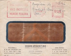 1959 COMMERCIAL COVER- CHACO ARGENTINO, SEGUROS. CIRCULEE CHACO ARGENTINE. BANDELETA PARLANTE, FRANKING MACHINE- BLEUP - Argentine