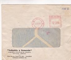 1961 COMMERCIAL COVER- INDUSTRIA Y COMERCIO SA. CIRCULEE ROSARIO, ARGENTINE, FRANKING MACHINE- BLEUP - Lettres & Documents
