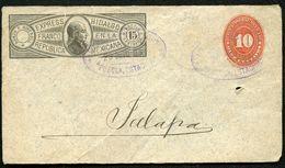 Mexico Front Of Envelope HIDALGO EXPRESS MEPSI H1 Puebla To Xalapa 1895 - Mexiko