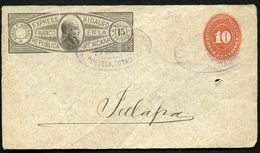 Mexico Front Of Envelope HIDALGO EXPRESS MEPSI H1 Puebla To Xalapa 1895 - Mexico