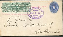 Mexico Front Of Cover WELLS FARGO WF68 5+10c San Fransico CA 1891 - Mexico