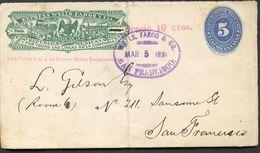 Mexico Front Of Cover WELLS FARGO WF68 5+10c San Fransico CA 1891 - Mexique