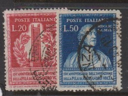 Italy Republic S 611-612 1949 150th Anniversary Invention Of Voltaic Pile,used - 6. 1946-.. Republic