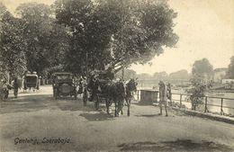 Indonesia, JAVA SOERABAIA, Genteng, Horse Cart, Old Car (1910s) Postcard - Indonesië