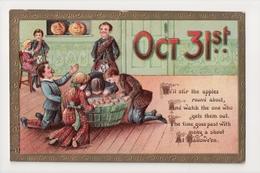 G-891 Halloween Postcard Bobbing For Apples Embossed JOL 1910 - Holidays & Celebrations