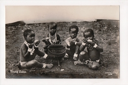 G-927 Kenya Africa Youngs Zulus Children Eating Real Photo RPPC Postcard - Other