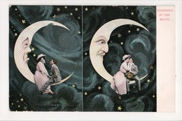 I-320 Spooning In The Moon Couple Sitting On Moon Postcard UDB - Other