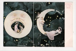 I-321 Spooning In The Moon Couple Sitting On Moon Postcard UDB - Other