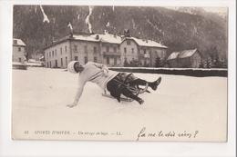I-583 Sports D'Hiver Winter Sports Sledding Toboggan Un Virage En Luge Postcard - Postcards