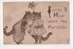I-644 Cats Catching A Kiss Under The Mistletoe AMC Artist Signed Postcard - Otros