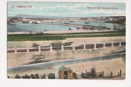 I-917 Gibraltar Vintage Postcard Road To The Spanisj Lines - Postcards
