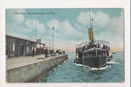 I-959 Gibraltar Vintage Postcard Algeciras Steamer And Pier - Postcards