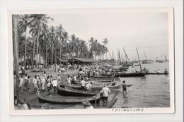 J-011 Indonesia Vintage Postcard Tjilintjing Tjilingtjing Boats Real Photo - Postcards