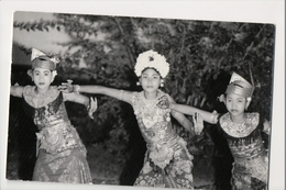 J-012 Indonesia Postcard Young Girls Dancing Traditional Dress Real Photo - Postcards