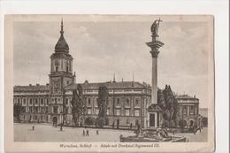 J-162 Warschau Warsaw Warsawa Poland Postcard Saule Mit Denkmal Sigismund III - Postcards