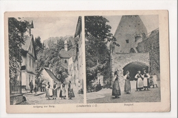 J-199 Lindenfels Hess Germany Burg Burghof Two View Postcard - Other