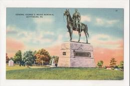 J-716 Gettysburg Pennsylvania General George Meade Memorial Linen Postcard - United States