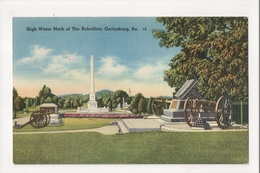 J-719 Gettysburg Pennsylvania High Water Mark Of Rebellion Linen Postcard - United States