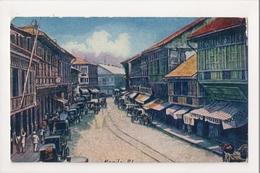 J-882 Manila Philippines Escolta Main Street Of Binondo Early Postcard - Postcards