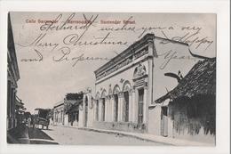 J-927 Barranquilla Colombia Calle Santander Street 1909 PC High Seas Cancel - Postcards