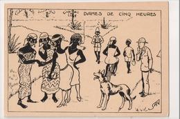 J-954 Artist Signed SAU Dames De Cinq Heures Belgian Congo Africa Comic PC - Postcards