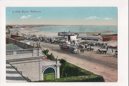 J-965 Melbourne Australia St Kilda Beach Trolley Early Postcard - Other