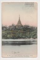 K-024 Burma Shwe Dagon Pagoda From Royal Lake Rangoon Hand Colored PC - Postcards